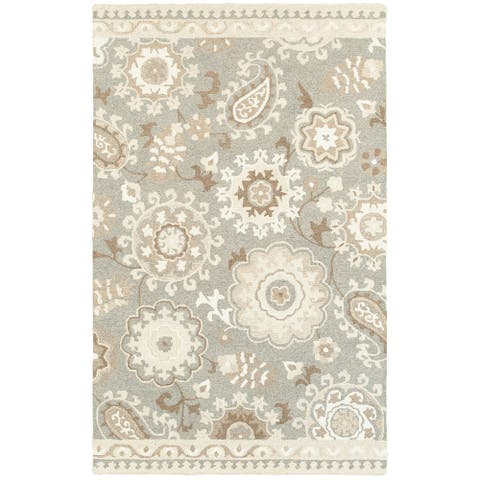 Copper Grove Marthrown Grey/ Sand Handcrafted Undyed Wool Area Rug