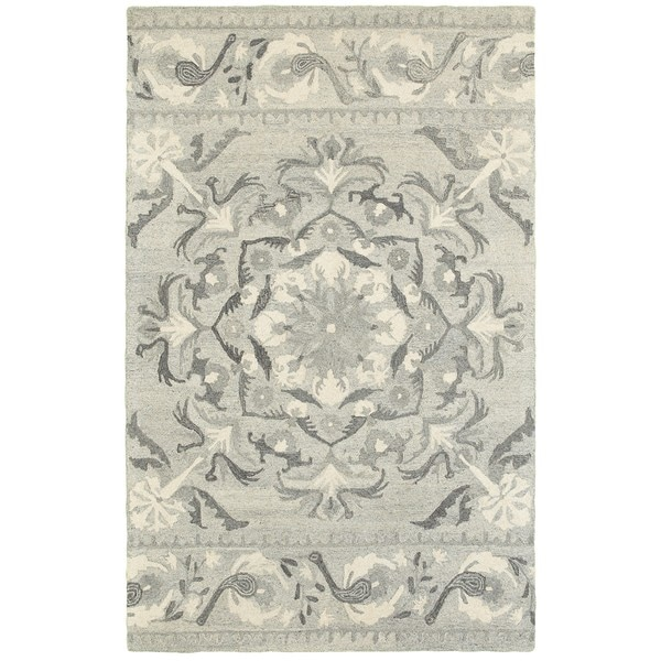 Floret Medallion Ash/Ivory Undyed Wool Handcrafted Area Rug (8' x 10') - 8' x 10'