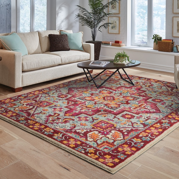 """The Curated Nomad Martin Tribal Medallion Red/Pink Area Rug - 3'10"""" x 5'5"""""""