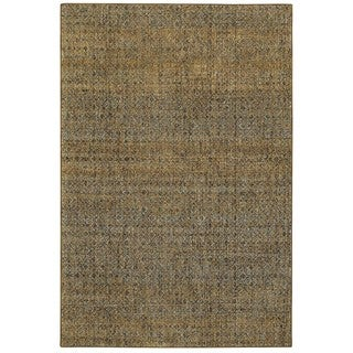 Textural Diamonds Green/Gold Area Rug (8'6 x 11'7)