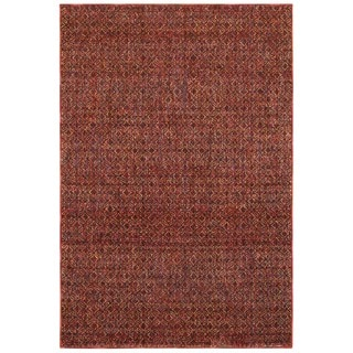 Textural Diamonds Red and Rust Area Rug (8'6 x 11'7)