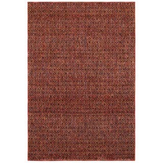Style Haven Textural Diamonds Red/Rust Area Rug (7'10 x 10'10)