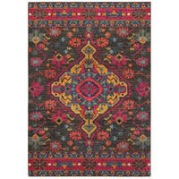 Pine Canopy Marigold Tribal Charcoal/Pink Area Rug - 3' 10' x 5' 5'