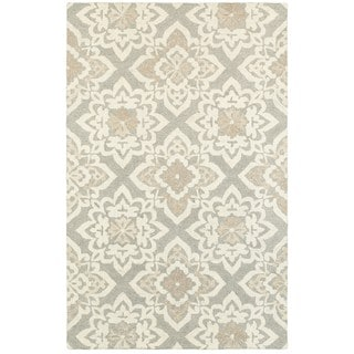 """Style Haven Floral Lattice Grey/Sand Wool Handcrafted Undyed Area Rug (3'6 x 5'6) - 3'6"""" x 5'6"""""""