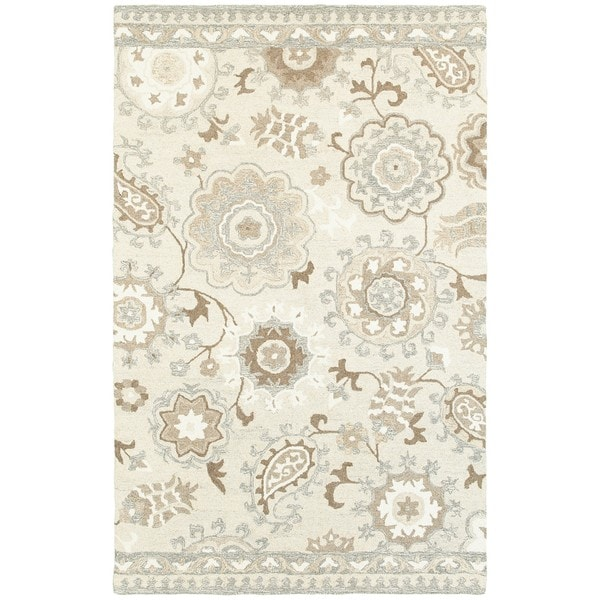 """Copper Grove Marthrown Floral Ivory/ Grey Undyed Wool Handcrafted Area Rug - 3'6"""" x 5'6"""""""