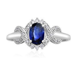 14k White Gold Oval Sapphire and Diamonds Engagement Ring - Blue