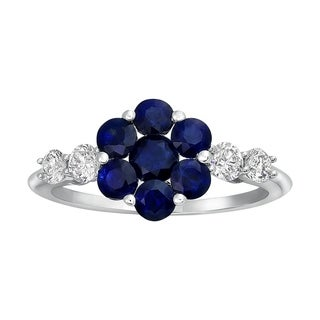 14k White Gold Blue Sapphire and 2/5ct Diamond Engagement Ring