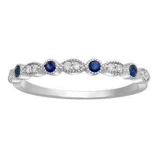 10k White Gold Blue Sapphire and 1/12ct Diamond Anniversary Milgrain Band Ring