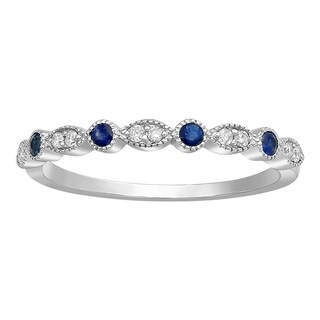 10k White Gold Blue Sapphire and 1/12ct Diamond Vintage Inspired Anniversary Band Ring