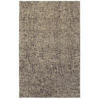 "Sombra Black/Beige Wool Handcrafted Boucle Area Rug - 3'6"" x 5'6"""
