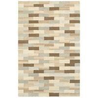 "Style Haven Textured Blocks Beige/Grey Handcrafted Wool Area Rug (3'6 x 5'6) - 3'6"" x 5'6"""