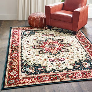 """Gracewood Hollow Deloria Medallion Red/Ivory Area Rug - 3'10"""" x 5'5"""""""