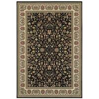 Style Haven Floral Traditions Black/Ivory Area Rug - 3'10 x 5'5