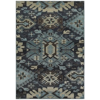 Tribal Blues Navy and Blue Area Rug (3'10 x 5'5)