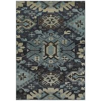 Tribal Blues Navy and Blue Area Rug - 3'10 x 5'5