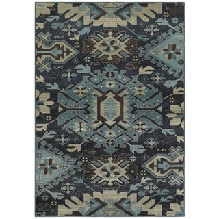 """Tribal Blues Navy and Blue Area Rug (3'10 x 5'5) - 3'10"""" x 5'5"""""""
