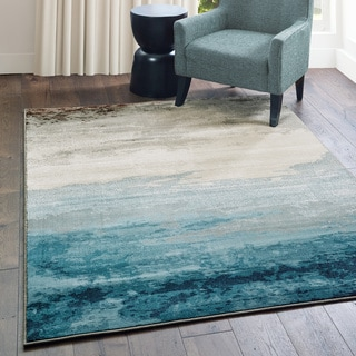 """Carson Carrington Kerava Abstract Blue/ Beige Area Rug - 3'10"""" x 5'5"""""""