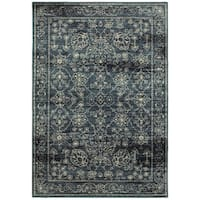 Carson Carrington Rauma Navy/Beige Area Rug - 3'10 x 5'5