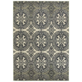 """Style Haven Oriental Medallion Navy/Ivory Area Rug (3'10 X 5'5) - 3'10"""" x 5'5"""""""