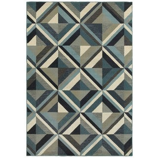 Style Haven Geometrico Blue/Grey Area Rug (3'10 x 5'5)