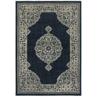 Style Haven Majestic Medallion Navy and Grey Area Rug (3'10 X 5'5)