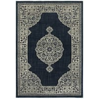 Style Haven Majestic Medallion Navy and Grey Area Rug - 3'10 X 5'5