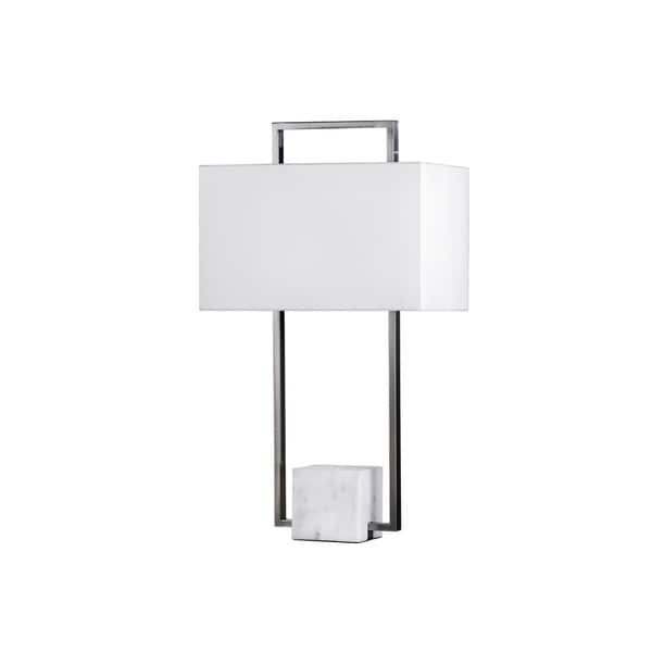 Nova Lighting Stratum Brushed Nickel and White Table Lamp