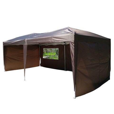 19.6-foot Dark Coffee 2-window Practical Waterproof Folding Tent