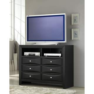 Blemerey Fully Wood Black Finish Assembled TV Chest