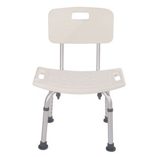 Ergonomic White Bath Chair with Back