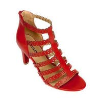 Women's Rialto Roma Strappy Sandal Red Smooth Polyurethane