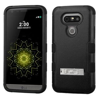 Insten Hard PC/ Silicone Dual Layer Hybrid Rubberized Matte Case Cover with Stand For LG G5