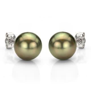 DaVonna 14k Gold Black Tahitian Cultured Pearl Stud Earrings (11-12 mm)