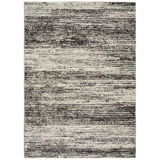 Style Haven Textural Stripes Ash/Charcoal Area Rug (1'10 x 3'2) - Thumbnail 0