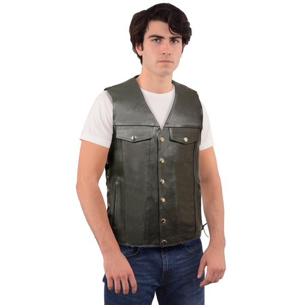 Men/'s Promo Leather Side Lace Vest w// Two Chest Jean Jacket Type Pockets EL5360