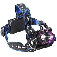 LT-2000LM Purple/ Black 3-mode LED Waterproof Headlamp (Set of 2)