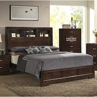 Montana Walnut Wood Modern Queen Bed with Bookcase