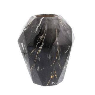 Benzara Black Marble-finish Ceramic Vase