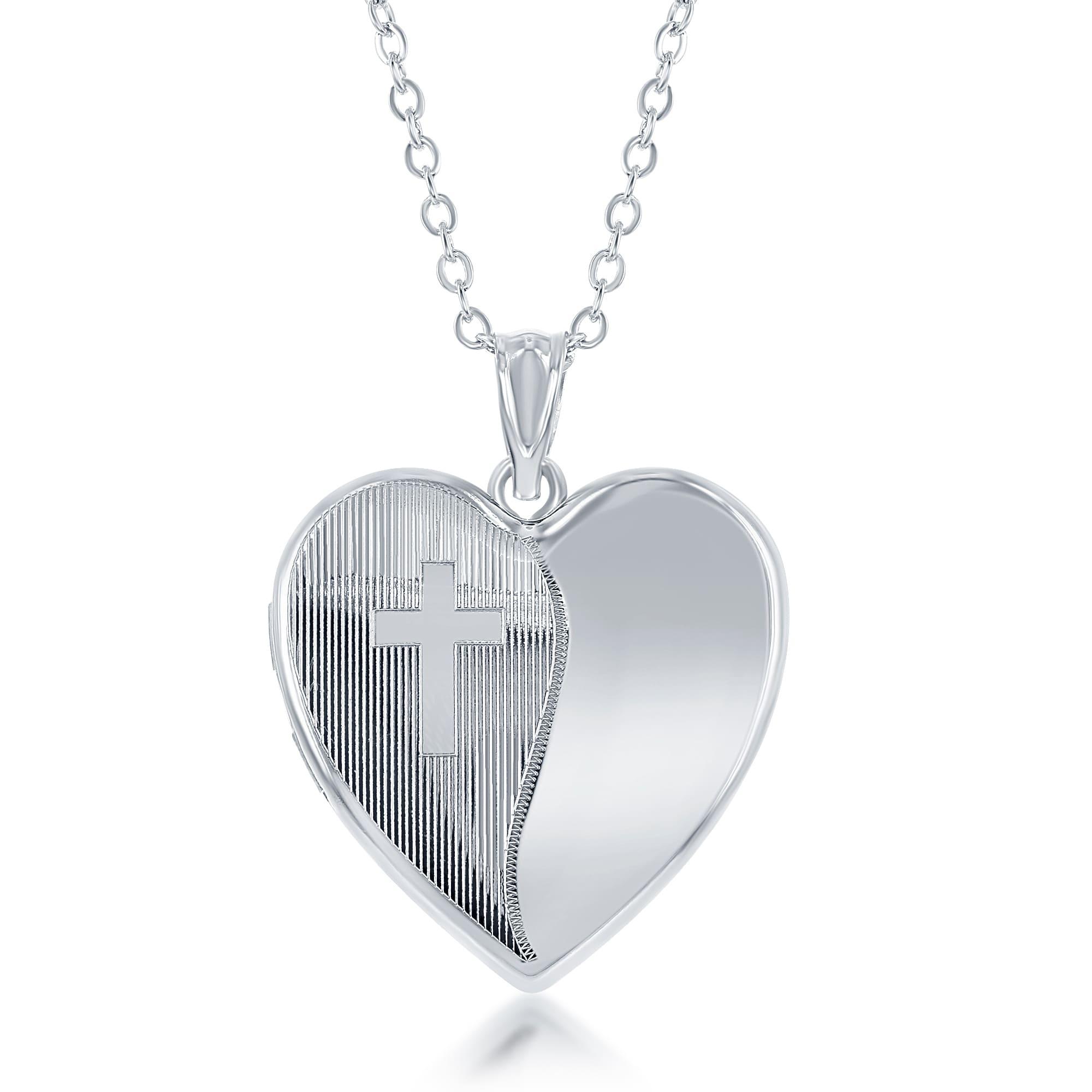 La Preciosa Sterling Diamond Cut Laser Design Cross Ashes...