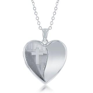 """La Preciosa Sterling Diamond Cut Laser Design Cross Ashes Cremation Locket 18"""" Necklace - Silver"""