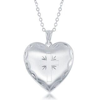 """La Preciosa Silver Center Cross Locket on 18"""" Cable-Style Necklace"""