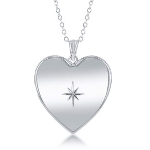 La Preciosa Silver Star Urn Locket 18-inch Necklace