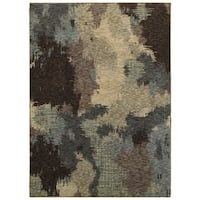 Clay Alder Home Pulp Mill Abstract Veil Blue and Brown Area Rug (1'10 x 3'2)