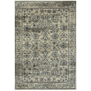Style Haven Faded Traditions Beige/Navy Area Rug (1'10 x 3')