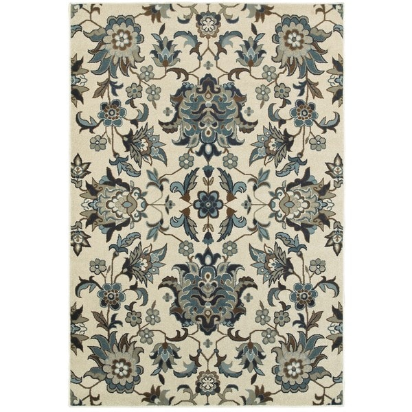 Style Haven Arcadian Flowers Ivory/ Blue Area Rug (1'10 x 3')
