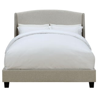 Queen All-In-One Shelter Back Upholstered Bed in Lunar Linen