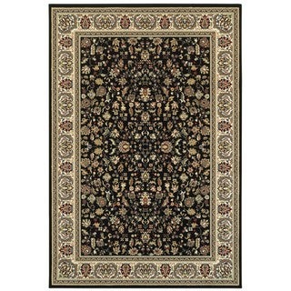 """Style Haven Floral Traditions Black and Ivory Area Rug (1'10 x 3') - 1'10"""" x 3'"""