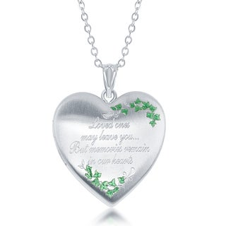 La Preciosa Silver 'Loved ones may leave you...But memories remain in our hearts' Urn Heart Locket 18-inch Necklace