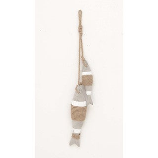 Nautical Brown Cement Rope 2-piece Fish Hanging Figures