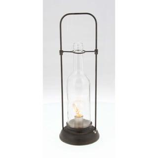 Benzara Kayla Brown Metal/Glass Lantern